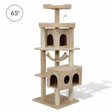 "Pawhut 65.2"" Cat Tree Condo Scratching Post Furniture Scratcher House"