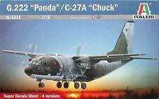 "ITALERI 1:72 KIT AEREO G.222 ""PANDA""/ C-27A ""CHUCK"" LUNGHEZZA 31,5 CM ART 1311"