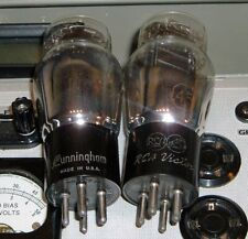 2 RCA Victor - Cunningham #45 triode tubes silver label 45 Hickok test strong