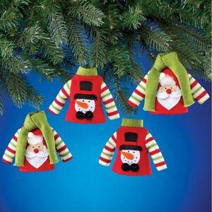 Set of 4 Santa & Snowman Holiday Sweater Christmas Ornaments