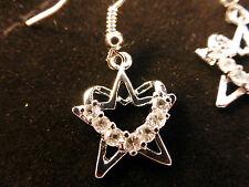 Cristales Austriacos 18k Oro Blanco Plateado Estrella De Cristal Y Corazones Aretes