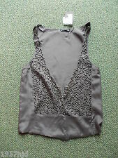 Women's Grey Silver Sequin Open  Waistcoat Vest by Atmosphere Size 8 NWT