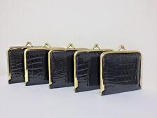 x 5 Suzy Smith Black Croc Frame Clasp Coin Purses