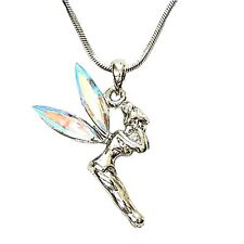 Small Adorable AB Tinkerbell Pendant and Necklace Rhodium Plated Gift Boxed
