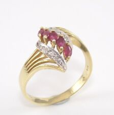 Solid 14K Yellow Gold Natural Ruby Diamond Accent Ring Size 7