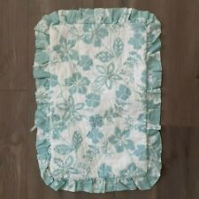 Pair teal floral boudoir pillow shams quilted ruffled 18X10 contemporary