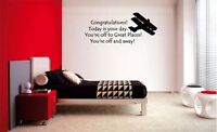 YOU'RE OFF TO GREAT PLACES AIRPLANE STICKER VINYL WALL QUOTE LETTERING  DECAL