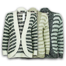 Ladies Cardigan Womens Knitwear Jumper Stripe Block Knit Boyfriend Open Popcorn