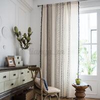 Black Cotton & Line Tassel Bohemian Curtain Window Sheer For Living Room