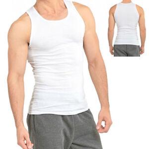 2 Men/'s Gem Rock White A-Shirts Rib Tank Top Muscle Shirts Size Large NWT!