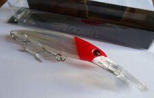 Noeby leurre traine Minnow 14cm 44g nage 0 à 7m blanc tête rouge