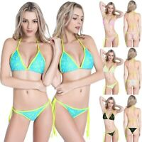 Women's Summer Beach Bikini Thong Bottoms Push Up Lace Swimsuit Bathing Suit US