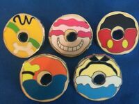 DISNEY PINS DONUTS - MICKEY CHESHIRE PLUTO ALICE GOOFY - US SELLER 5 PINS