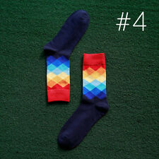 Fashion Mens Cotton Happy Socks Warm Colorful Diamond Casual Dress Socks New
