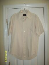 """JCPENNEY """"No Iron"""" Beige Button Up Short Sleeve Shirt - Size: 16 Very Nice ~"""