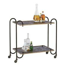 Gorgeous Vintage Style Bronze Arch Serving Cart Bar Rolling Two Shelf Retro