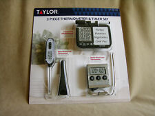 New listing New Taylor 3 Piece Digital Cooking Thermometer Probe & Timer Set Model 51194Cus