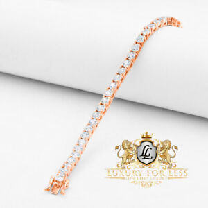 High Quality AAA+ Grade Simulated Diamond Rose Gold Tone 1 Row Tennis Bracelet