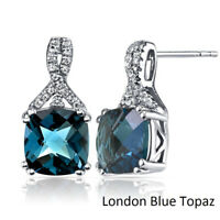 London Blue Topaz Cushion Shape Stud 18K White Gold Earrings with Crystals ITALY
