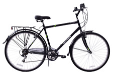 "Mayfair 700c Wheel Mens Hybrid Bike 23"" Frame 18 Speed + Luggage Rack Black"