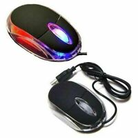 New Wired USB Optical Mouse Light Scroll Wheel Mice for Laptop Computer PC Black