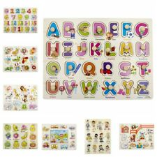 Alphabet Wooden Animal Puzzle Jigsaw Early Learning Baby Kids Educational Toys