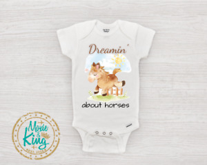 Horse Baby Onesie, Dreamin' about horses Equestrian Baby Clothes Newborn Gift