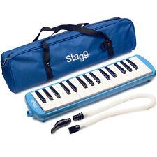 Stagg MELOSTA32BL Blue Plastic Melodica Reed Keyboard 32 keys w/Mouthpiece &Case