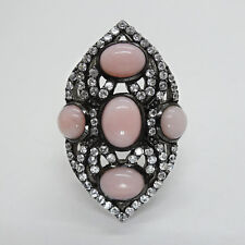 Pink Opal Cabochon Sterling Silver Cocktail Ring, Black Rhodium Plating