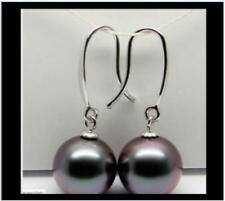 classic  10-11mm AAA tahitian round black pearl earring 14K Solid WHITE Gold