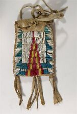 1890s NATIVE AMERICAN SIOUX INDIAN BEAD DECORATED HIDE RATION CARD POUCH / CASE