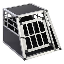 Goplus Aluminum Dog Transport Box Dog Crate Kennel Pet Playpen Cage w/Lock 28''H