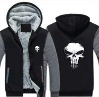 Hot The Punisher Skull Print Men's Casual Jacket Zipper Sweatshirt Hoodie Coat