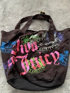 Womens Brown Pattern Cotton Tote Bag By Juicy Couture