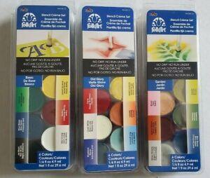 (3 Sets) Stencil Creme Paint Sets With 6 Colors Each - Choice Of 3 Color Schemes
