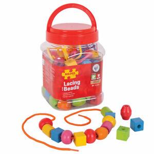 Bigjigs Toys Jar of Lacing Beads Threading Activity Arts Crafts Kids Children
