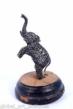 Antique Silver South Indian Filigree Work Elephant Figure wooden base.G10-56