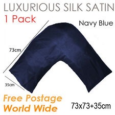 Silky Satin V Shaped /Tri/ Boomerang Standard Pillowcase Cushion Cover-Navy Blue