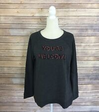 Ann Taylor LOFT Women Medium Sweatshirt Beaded Graphic You're Welcome Gray Top