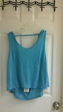 Exist Miami women's size medium tank cropped top turquoise keyhole back