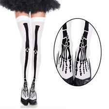 White Thigh High Stockings Black Leg Bones Skeleton Design Halloween Costume OS