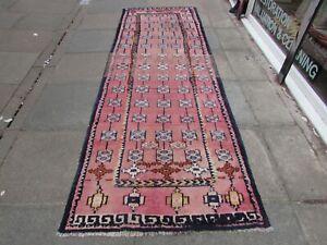 Vintage Worn Hand Made Traditional Oriental Wool Cotton Pink Rug Runner 328x111m