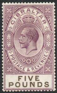 GIBRALTAR: 1925-32 Sg 108 £5 Violet & Black Lightly Mounted Mint Example (38533)