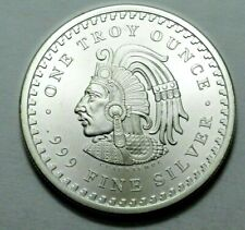 1 Oz 999 Silver Aztec Mayan Calendar Collectible Coin Medal Bullion, Rare, N R !