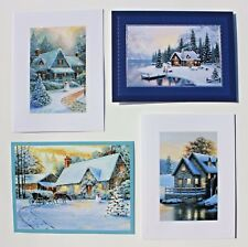 *BURGOYNE Set of 4 Glitter Christmas Holiday Greeting Cards ~Winter Scenic View