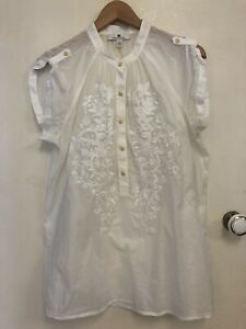 Banana Republic Ladies White Embroidered Blouse Top Size Large L