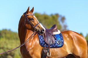 Saddle Pad - Dressage Full, Navy Blue Satin - Pimp My Pony