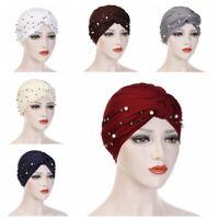 bandeau le turban plissé élastique hijab indian pac des perles tête de noeud.