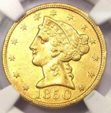 1850-C Liberty Gold Half Eagle $5 - NGC AU Details - Rare Charlotte Gold Coin!