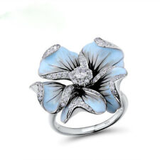 Elegant Silver Color Blue Pure Flower Blossom CZ Rings Women Jewelry Gifts
